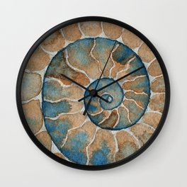 Ammonite fossil watercolor painting Wall Clock