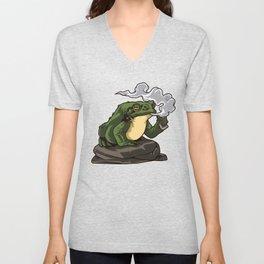 Vaping Toad | Vape Vaper Frog Animal Chill Relax Unisex V-Neck