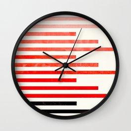 Mid Century, Modern, Minimalist, Circle, Round Photo, Vermillion Watercolor, Staggered Stripe, Patte Wall Clock
