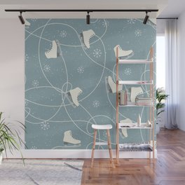 Ice-Skates & Snowflakes Winter Pattern Wall Mural