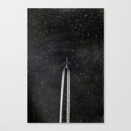 Star Flight - Airplane crossing a starry sky Canvas Print