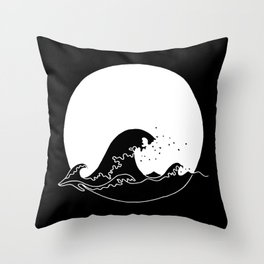 Black Wave Throw Pillow