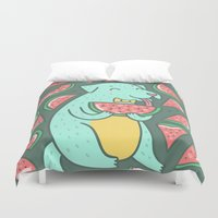 daria Duvet Covers featuring Watermelon Dog by Anna Alekseeva kostolom3000