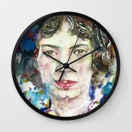 EMILY DICKINSON - watercolor portrait.3 Wall Clock