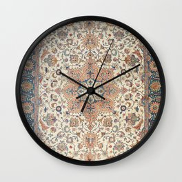 Fine Persia Tabriz Old Century Authentic Colorful Blue Rust Orange Vintage Patterns Wall Clock