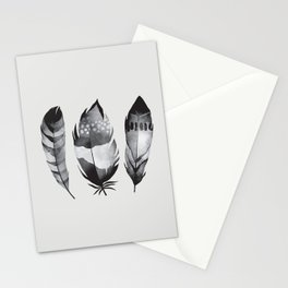 Monochrome bohemian feather set black-white boho watercolor animal illustration boho home wall decor Stationery Cards