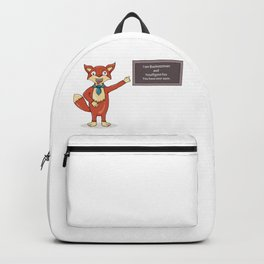 Foolish fox.Misspelled text as a sign of madness. Backpack