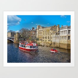 York Guildhall with river boat Art Print