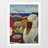 Seaside Picnic with a guest Art Print