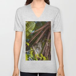 A Barong statue in the forrest of Bali, Indonesia. A fine art print that gives you the feeling of Bali. Unisex V-Neck