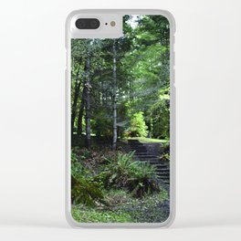 cabin in the woods with steps Clear iPhone Case