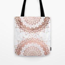 Modern chic rose gold floral mandala illustration on trendy white marble Tote Bag