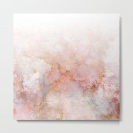 Beautiful Pink and Gold Ombre marble under snow Metal Print