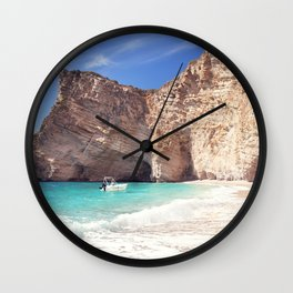 Corfu. Greece. Wild beach among the rocks. Wall Clock