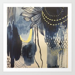 Indigo Mood with Gold Original Painting by Rachael Rice Art Print