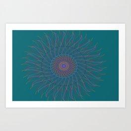 Blue fire mandala Art Print