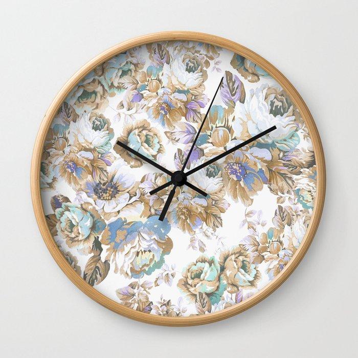Vintage blush lavender brown teal blue roses floral Wall Clock