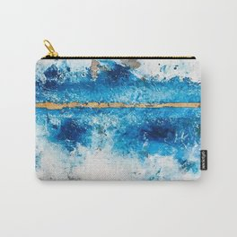 Blue Skies: a pretty, minimal abstract mixed-media piece in blue, white and gold Carry-All Pouch
