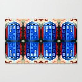 British Blue Police Public Call Box - 1111 Mirror Canvas Print