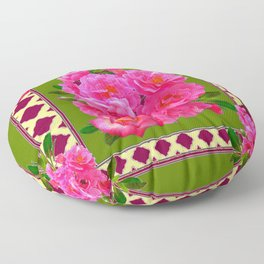 VIBRANT PINK ROSES ON MOSS GREEN PATTERN Floor Pillow
