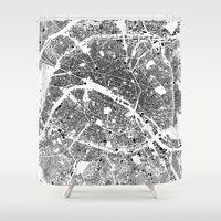 buildings Shower Curtains featuring Paris Map Schwarzplan Only Buildings by City Art Posters