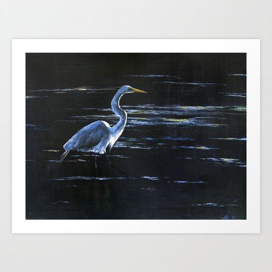 Great Egret Wading in Dark Waters Art Print
