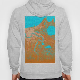 New Orleans, LA, USA, Gold, Blue, City, Map Hoody