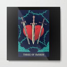 Three of Swords Tarot Card Design Metal Print