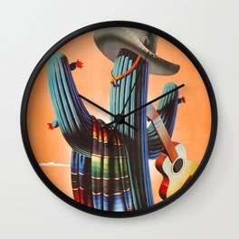 Mexico, Cactus, Retro Vintage Travel Poster Wall Clock