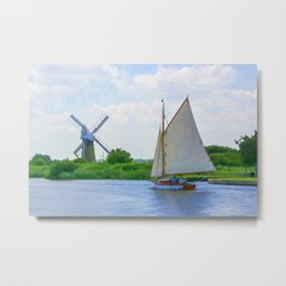 Sailing the Norfolk Broads Metal Print