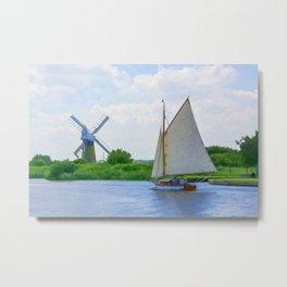 Sailing the Norfolk Broads Metal Print