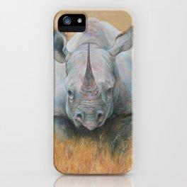 RHINOCEROS African animal Safari style Realistic pastel drawing iPhone Case