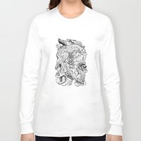 berserk Long Sleeve T-shirts featuring THE HOUND - WHITE by SOMNIVAGRIOUS
