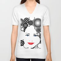 lady V-neck T-shirts featuring Lady  by kgkramer