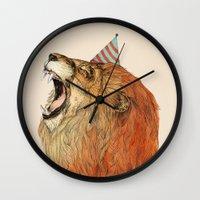 birthday Wall Clocks featuring Birthday Lion by Sandra Dieckmann