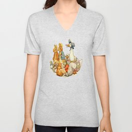 Bedtime Story Animals Unisex V-Neck