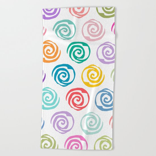 Circles Abstract Seamless Pattern Beach Towel