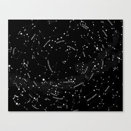 Constellation Map - Black Canvas Print