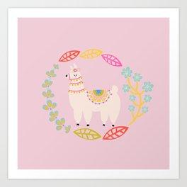 Lola Llama Pink Art Print