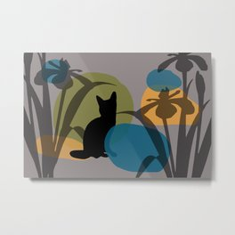 Abstrackt geometry minimal Art Flower Cat Metal Print