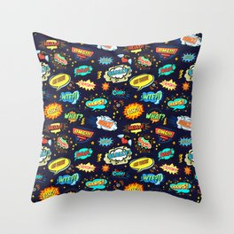 Retro Vintage Comic Book Speech Bubbles Design Throw Pillow