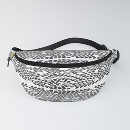 Snake skin scales texture. Seamless pattern black on white background. simple ornament Fanny Pack