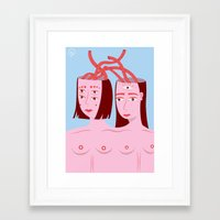lovers Framed Art Prints featuring Lovers by Cuatro Ojos