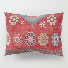 Tribal Honeycomb Palmette // 19th Century Authentic Colorful Red Aztec Flower Accent Pattern Pillow Sham