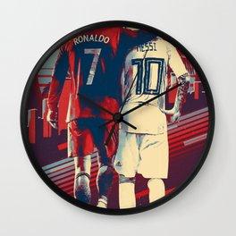 CristianoRonaldo & LeoMessi retro ilustration Wall Clock