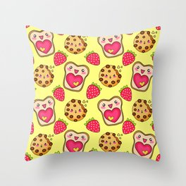Cute funny sweet adorable happy Kawaii toast with raspberry jam and butter, chocolate chip cookies, red ripe summer strawberries cartoon fantasy sunny yellow pattern design Throw Pillow