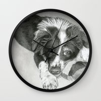 border collie Wall Clocks featuring Border Collie Puppy by Sarahphim Art