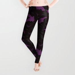 Flying Purple Halloween Bats Vector Pattern Leggings