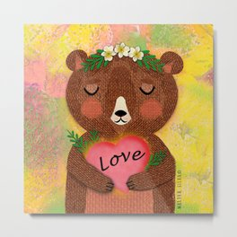 Mama Bear with Floral Head Dress holding a heart, Love is love Metal Print