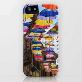 Colorful umbrella street in Italy iPhone Case